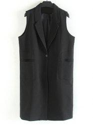 Plus Size Notched Collar Longline Waistcoat - BLACK