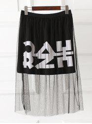 Letter Print Mesh Plus Size Mini Skirt