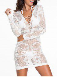 Plunging Neck Lace-Up Sheer Bathing Suit Cover-Up - WHITE