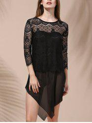 Women's Stylish Laced Voile Spliced Asymmetrical T-Shirt