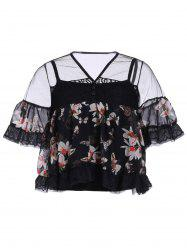 Women's Stylish V Neck Laced Floral Print Bell Sleeve Blouse -