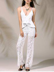 Women's Stylish Plunging Neck Laced Flounce Jumpsuit - WHITE