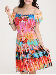 Stylish Scoop Neck Short Sleeve Colorful Print Dress