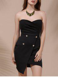Asymmetric Short Strapless Tight Club Dress