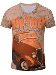 Casual Car Letter Printed Short Sleeves T-Shirt For Men -