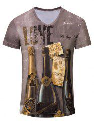 3D Winebottle Printed V Neck Tee