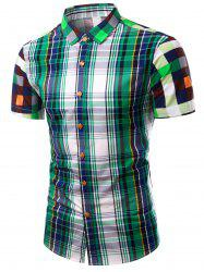Turn-Down Collar Color Block Plaid Design Short Sleeve Shirt For Men -