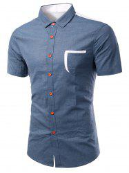 Turn-Down Collar Color Block Spliced Design Short Sleeve Shirt For Men