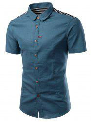 Turn-Down Collar Solid Color Stripe Splicing Design Short Sleeve Shirt For Men -