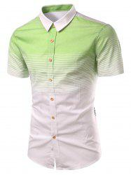 Turn-Down Collar Ombre Stripe Splicing Design Short Sleeve Shirt For Men - GREEN