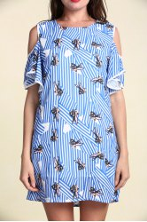 Stylish Women's Hollow Out Short Sleeve Flounce Jewel Neck Print Dress