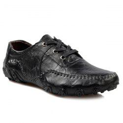 Fashionable Stitching and Lace-Up Design Casual Shoes For Men - BLACK