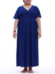 Plus Size V-Neck Mock Waist Maxi Dress