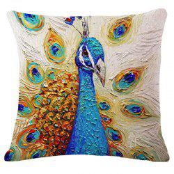 Animal Peacock Oil Painting Pattern Square Shape Pillowcase (Without Pillow Inner)