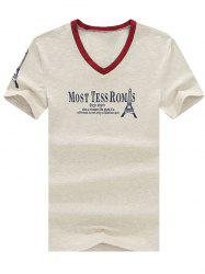Trendy Men's V-Neck Letter And Tower Printed Short Sleeve T-Shirt