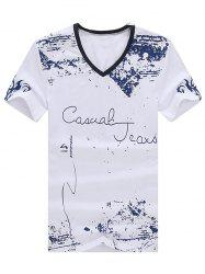 Casual V-Neck Printed Short Sleeve Men's T-Shirt