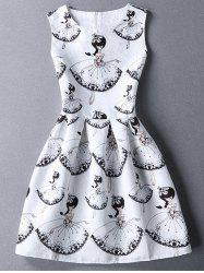 Cute Round Collar Sleeveless Girl Print Women's Dress