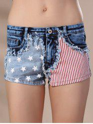 Women's Stylish American Flag Print High Waisted Shorts -