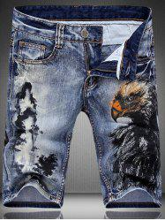 Fashion Zip Fly Mountain Printed Denim Shorts For Men