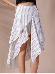 High-Waisted Pinstriped Asymmetric Skirt - WHITE