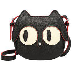 Cute Cat Shape and Black Design Crossbody Bag For Women - BLACK
