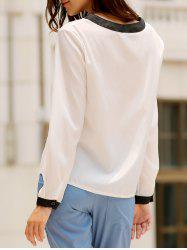 Stylish Round Collar Long Sleeve Color Block Ruffled Women's Blouse