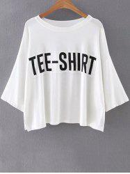 Casual Round Neck Batwing Sleeve Letter Patchwork T-Shirt For Women -