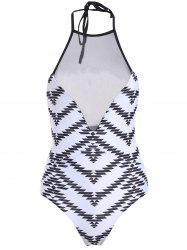 Stylish Jewel Neck Printed Voile Spliced Women's One-Piece Swimwear