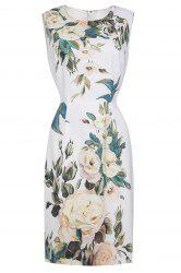 Straight Flower Print Dress -