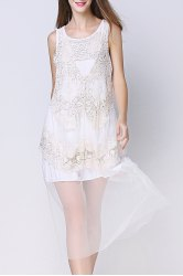 Half-Slip Crochet Lace Sleeveless Dress -
