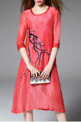 Fitting Plum Blossom Embroidery Dress -