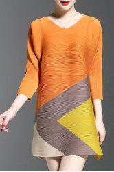 V-Neck Color Block Ruched Dress -