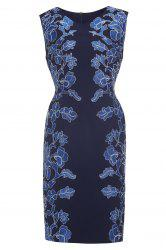 Fitted Floral Embroidery Dress -