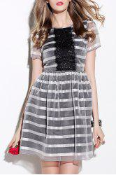 Lace Detail Striped Dress -