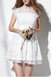 Fit and Flare Sheer Mesh Yoke Lace Dress -