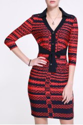 Hit Color Sheath Dress -