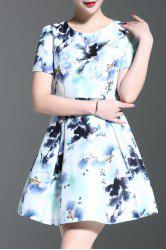 Round Collar Floral Print A-Line Dress -