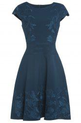 Retro Belted Floral Embroidery Dress -