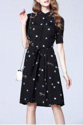 Star Printed Shirt Dress -