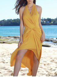 Sexy Halter Sleeveless Hollow Out High Low Hem Women's Dress - YELLOW