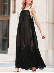 Cami Sheer Lace Insert  See Through Maxi Dress