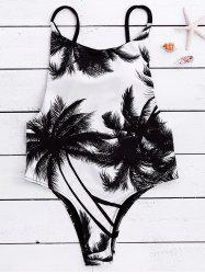 Spaghetti Strap Coconut Tree Print Tropical Backless Swimwear - WHITE AND BLACK