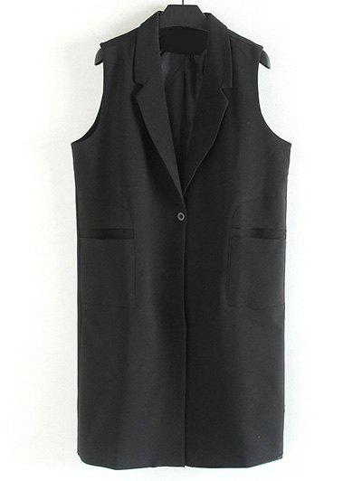 Fancy Plus Size Notched Collar Longline Waistcoat