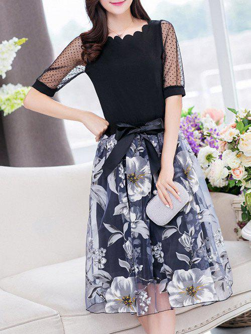Fashion Stylish Jewel Neck Half Sleeves Patchwork T-Shirt + Floral Skirt For Women