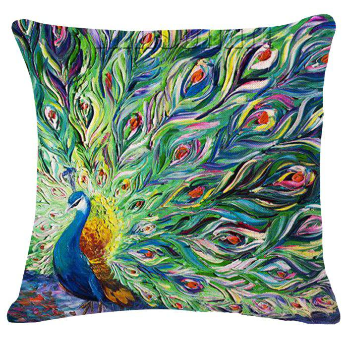 Latest Animal Peacock Oil Painting Pattern Square Shape Pillowcase (Without Pillow Inner)