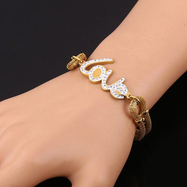 Store Chic Rhinestone Letter Love Shape Embellished Bracelet For Women