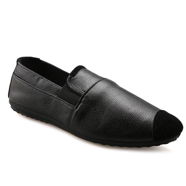 Fashion Leisure Black and Elastic Design Loafers For Men