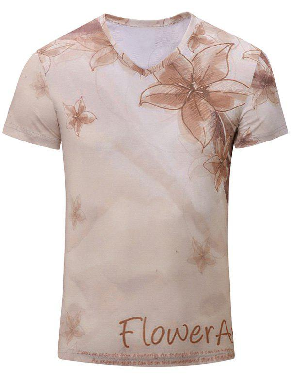 Cheap Casual Flower Printed Short Sleeves T-Shirt For Men