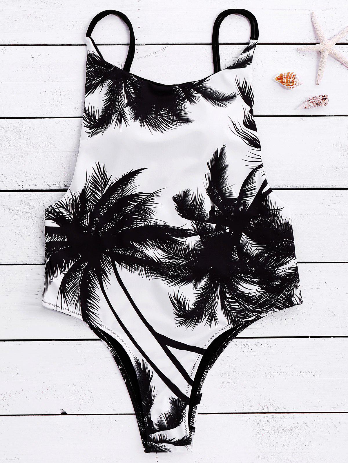 Affordable Spaghetti Strap Coconut Tree Print Tropical Backless Swimwear