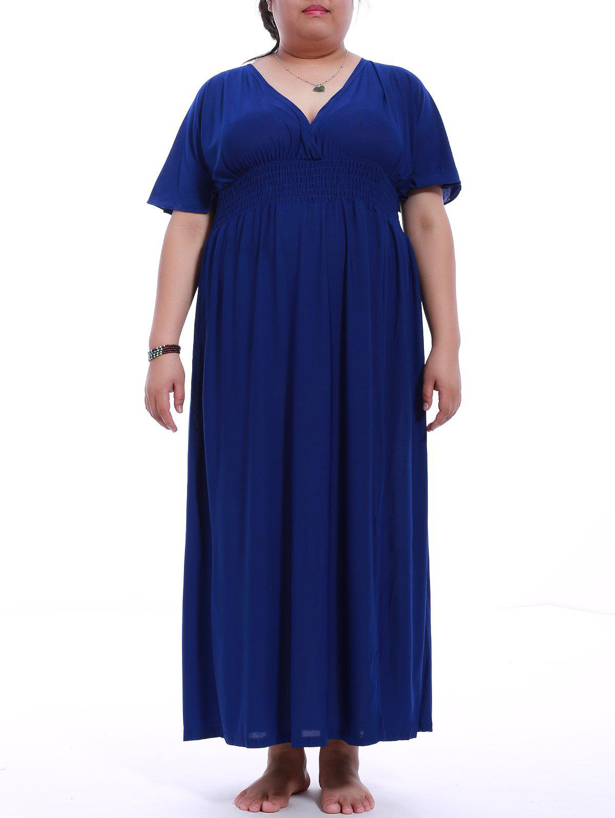 Chic Plus Size V-Neck Mock Waist Maxi Dress